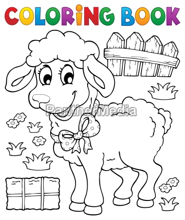 coloring book sheep theme 3