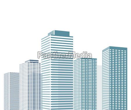 stadtbild mit hochhaeusern illustration