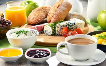 frühstück, mit, kaffee, käse, müsli, und, rührei - 22801600