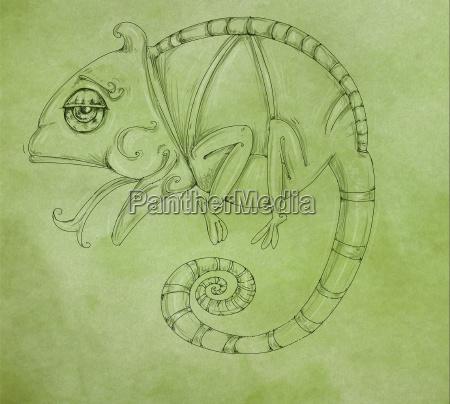 chameleon design stroke symbol