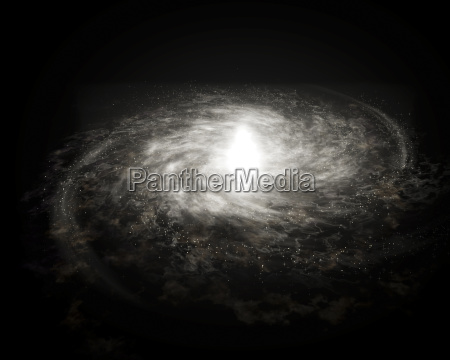 spiral galaxy isolated over black background