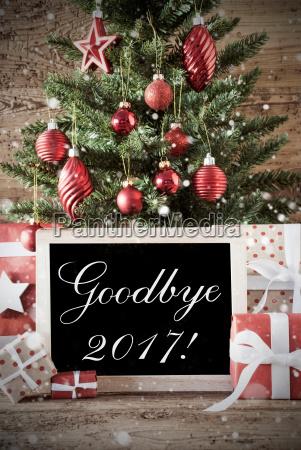 nostalgic christmas tree with goodbye 2017