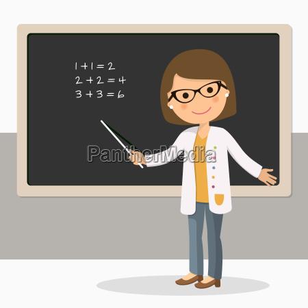 junge weibliche lehrerin auf mathelektion an