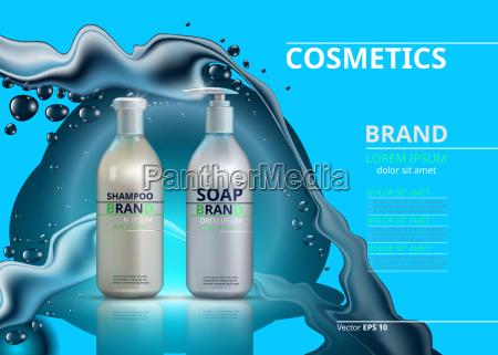 shampoo und seife realistische flaschen mockup