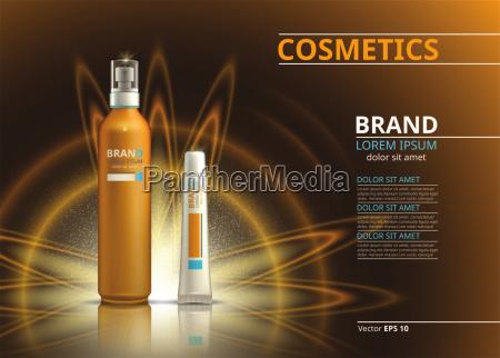 sonnenschutz realistisches produktdesign kosmetische flaschen spray