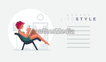 rote haare schoene dame auf sofa