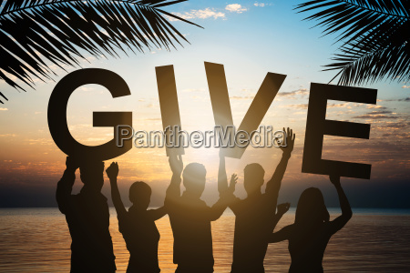 business people holding give text by