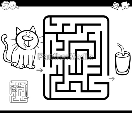 maze activity game with cat and