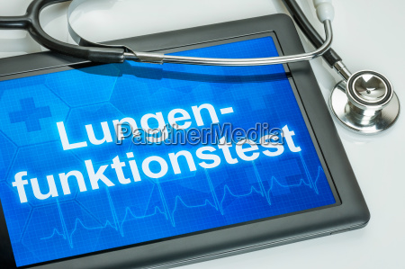 tablet with the text lung function