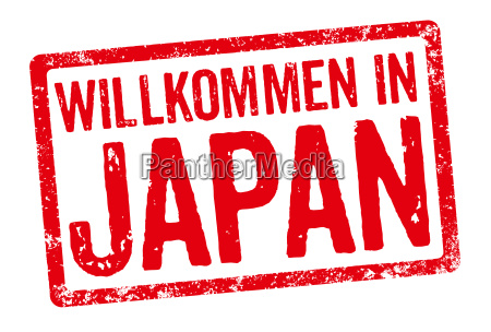 red stamp welcome to japan