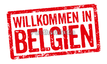 red stamp welcome to belgium