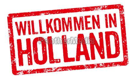 red stamp welcome to holland