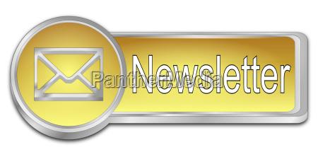 goldener newsletter button 3d darstellung