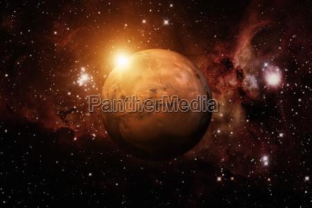 planet mars nebel im hintergrund