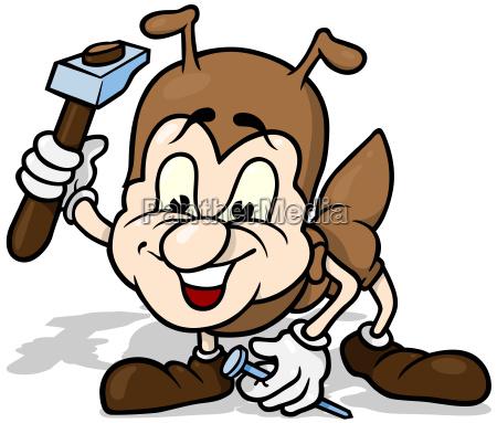 ant holding hammer