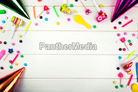 birthday party items and decorations on