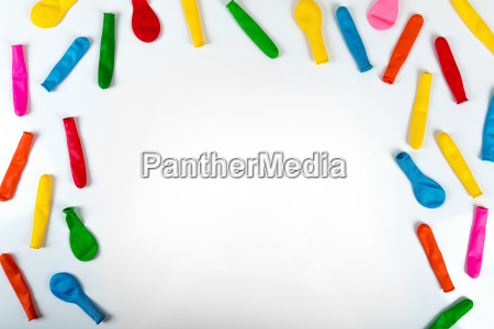 colorful balloons on white party background
