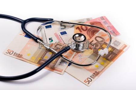 stethoscope on euro money healthcare