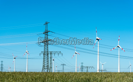 wind turbines and power lines with