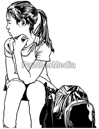 schulmaedchen mit rucksack