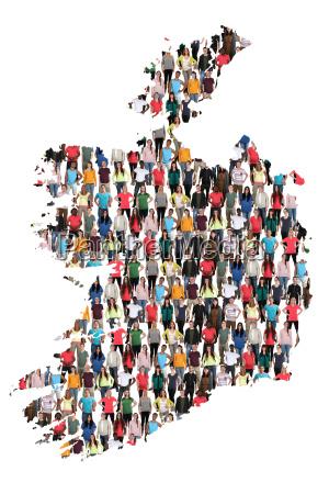 irland karte leute menschen people gruppe