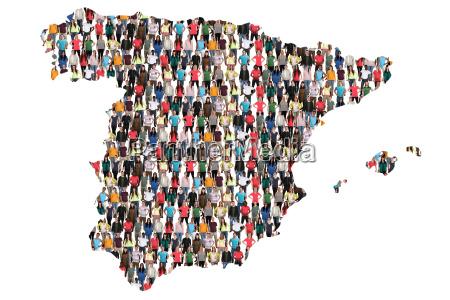 spanien karte leute menschen people gruppe
