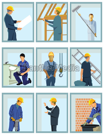 handwerkern beim arbeiten auf der baustelle