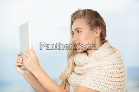 beautiful student girl with tablet
