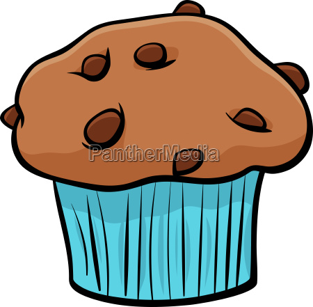 muffin with chocolate cartoon object