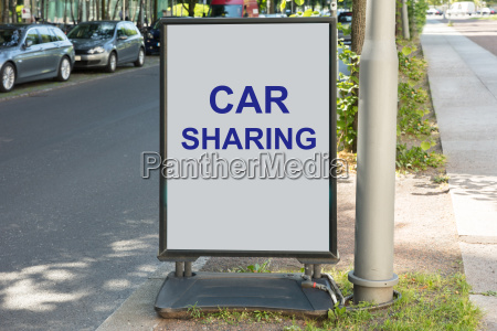 car sharing zeichen an bord fuer
