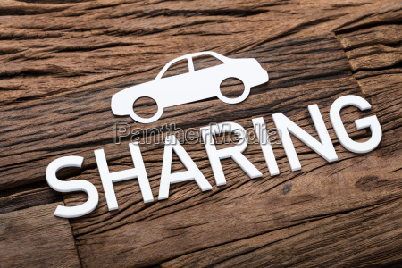paper car and sharing text on