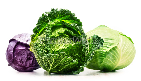 three fresh organic cabbage heads isolated