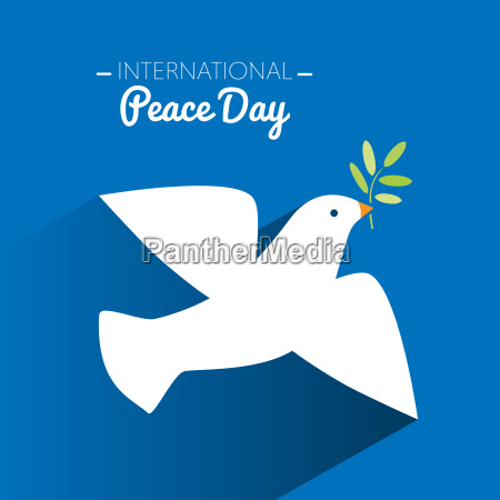 international peace day dove flying and