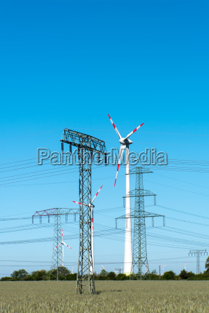 wind turbines and electricity pylons in