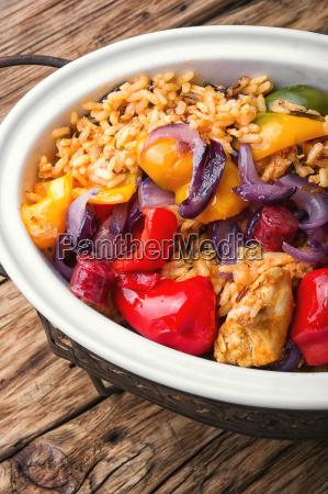 french jambalaya with chicken and rice