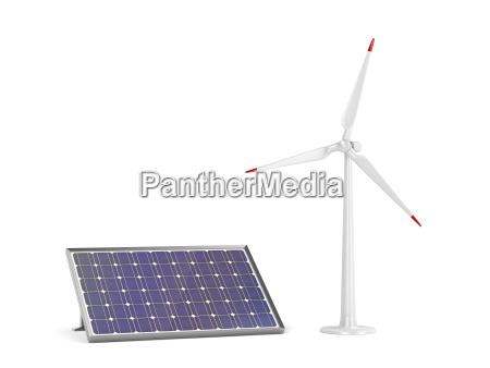 sonnenkollektor und windturbine