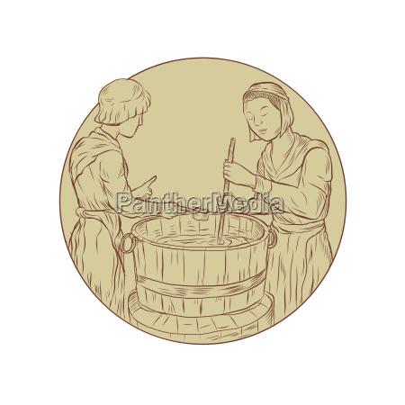 alewife brewing beer drawing