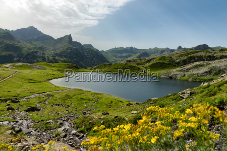 small mountain lake in the french