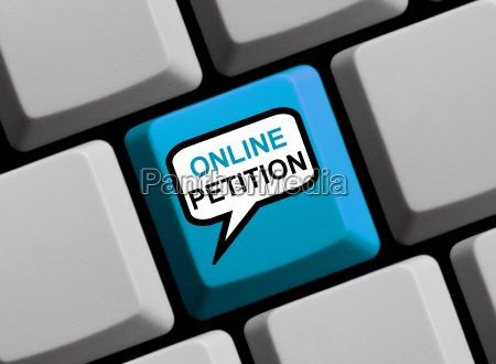 tastatur mit sprechblase online petition