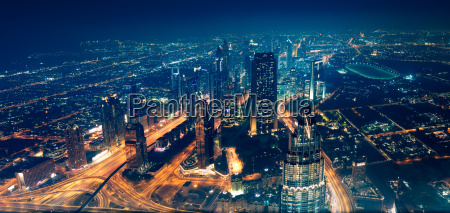 panoramic view of dubai city