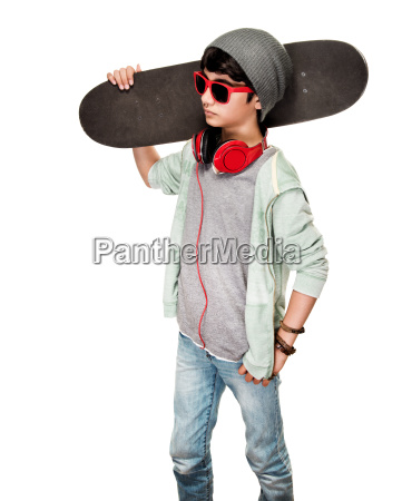 teen boy with skateboard