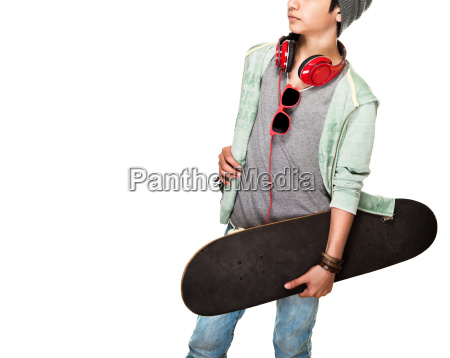 skateboarder over white background