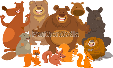 wild mammals animal characters cartoon