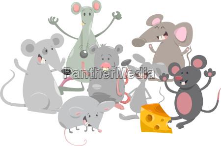 mice animal characters cartoon
