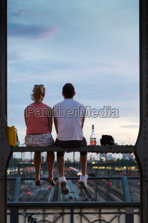 young couple on romantic date on