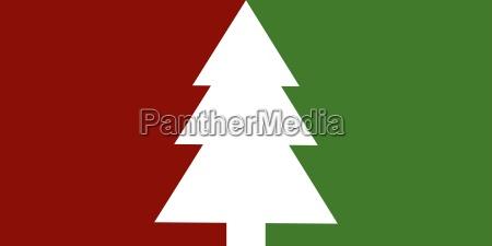 schlichte weihnachtskarte mit tannenbaum gruen rot