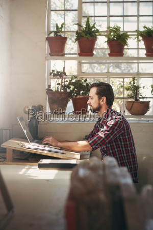 entrepreneur working in an office space