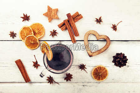mulled wine with spices and decorations