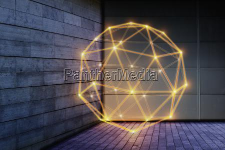 beleuchtetes geometrisches pentakis dodekaeder technologie verbindungskonzept