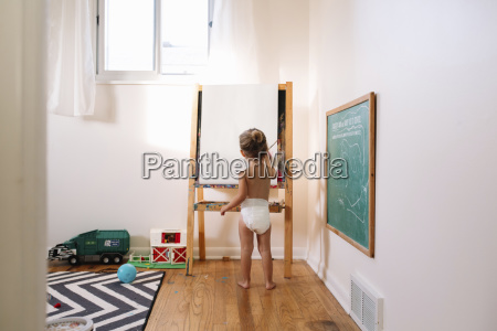 rear view of young girl wearing